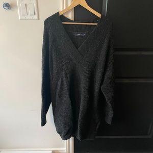 NEW Zara Long Dark Gray V Neck Knit Sweater